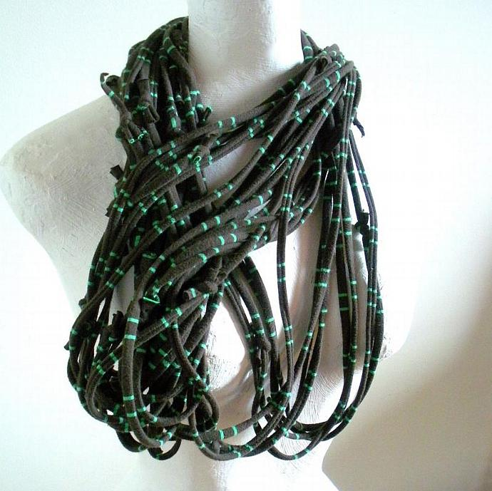 Carafe Brown Infinity Scarf French Roast Green Striped Scarf Mens Circle Scarf