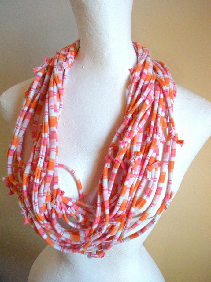 Upcycled Pastel Pink Orange Striped Jersey Scarf Tangerine White Stripes Fall
