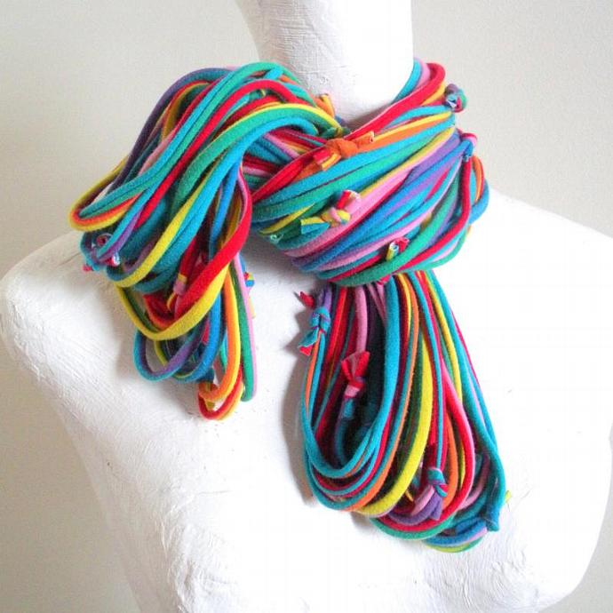 Vivid Carnival Stripes Infinity Scarf Rainbow Circle Scarf Bright Colors Cowl