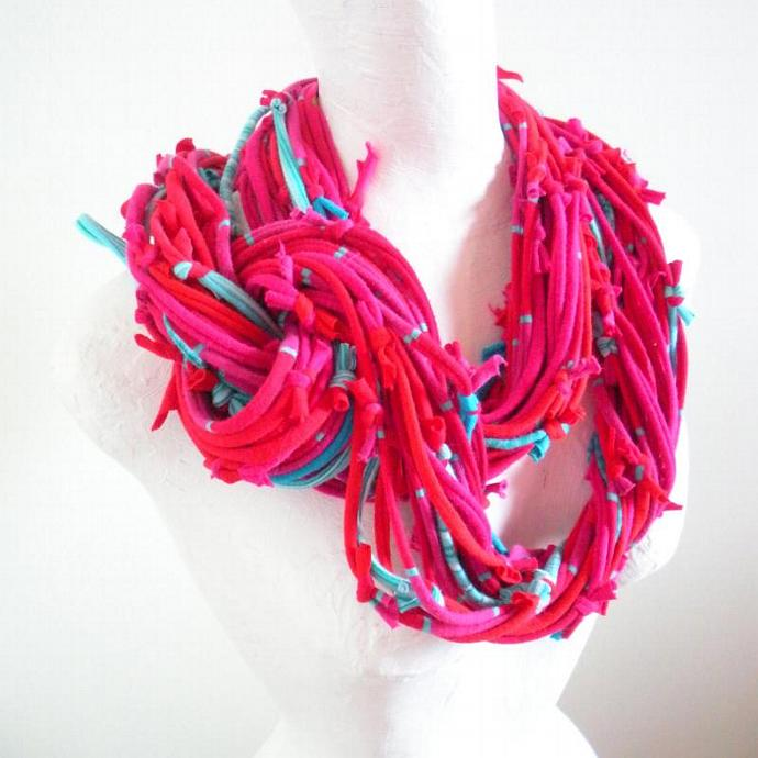 Vivacious Hot Pink Red Infinity Scarf Turquoise Accents Upcycled Circle Scarf