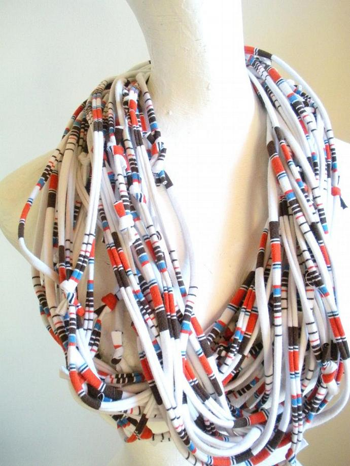 White Infinity Scarf Tribal Striped Carafe Brown Koi Orange Blue Stripes Pantone