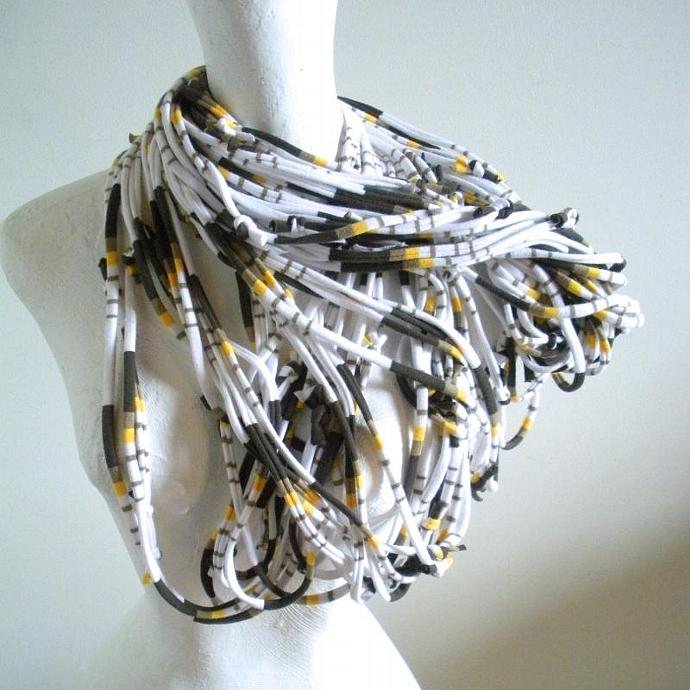 White Infinity Scarf Carafe Brown Honey Gold Stripes Pantone Fall Fashion Retro