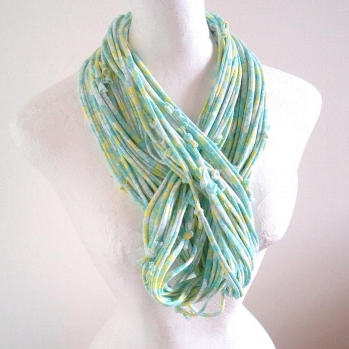 Eco Friendly Pastel Mint Green Yellow Infinity Scarf Feminine Floral Circle
