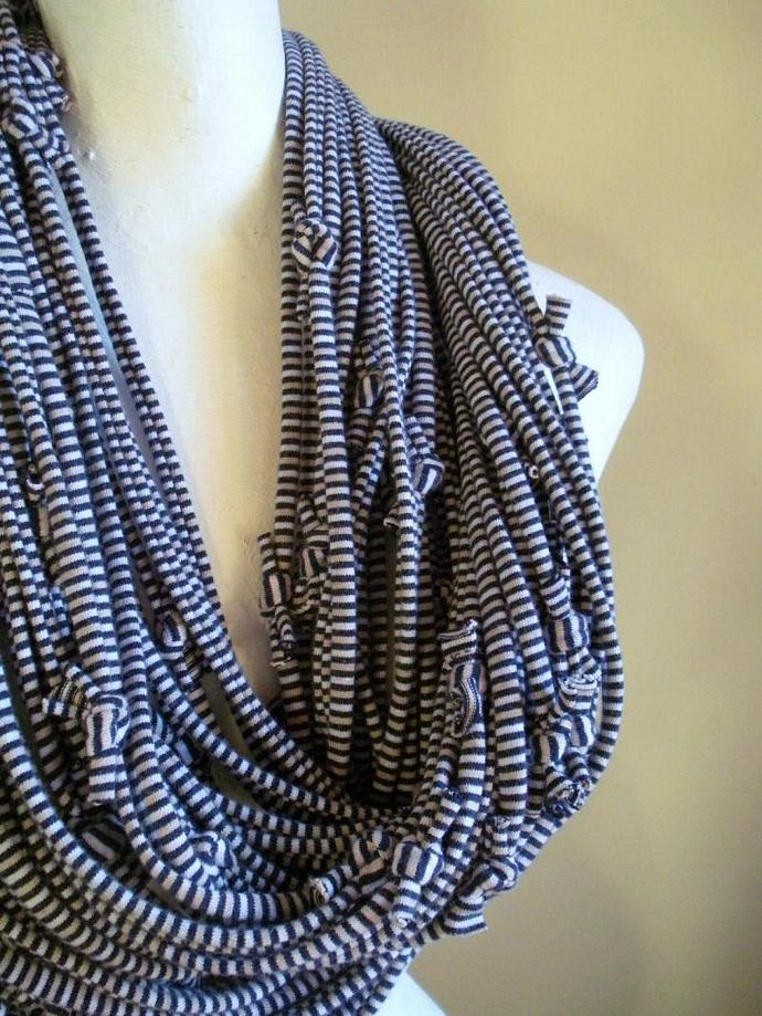 Blue Infinity Scarf Nautical Stripes Navy White Tan Steampunk Upcycled Chunky