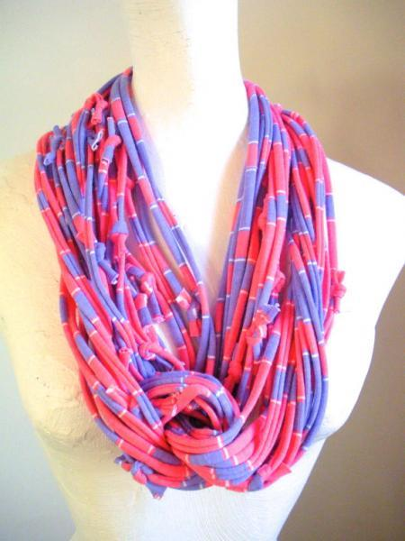 Pink and Purple Infinity Scarf Necklace Upcycled Clothing Fall Fashion Lavender
