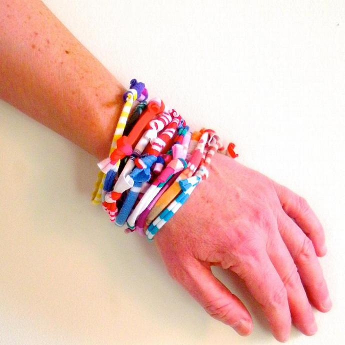 Upcycled Stacking Bracelets Multicolor Tribal Stripes Eco Friendly Fiber Cuff