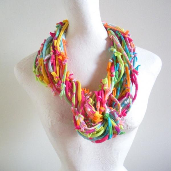 Rainbow Sherbet Infinity Scarf Upcycled Clothing Summer Fashion Colors Raspberry