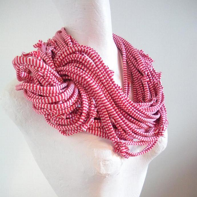 Samba Red White Candy Stripes Infinity Scarf Lovelysquid