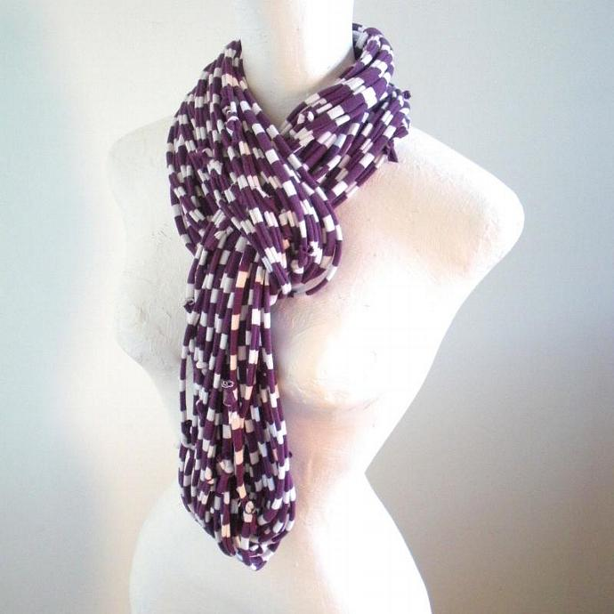 Acai Purple White Striped Infinity Scarf Plum Fall Fashion Upcycled Chunky Cowl