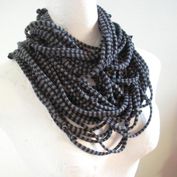 Steampunk Infinity Scarf Black Gray Pinstripes Pantone Turbulence Gray Fall