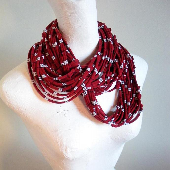 Beaujolais Red Infinity Scarf Pantone Fall Fashion Color White Navy Stripes
