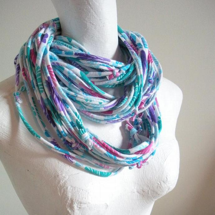 Womens Fall Fashion Bright Tropical Print Infinity Scarf Blue Green Pink Purple