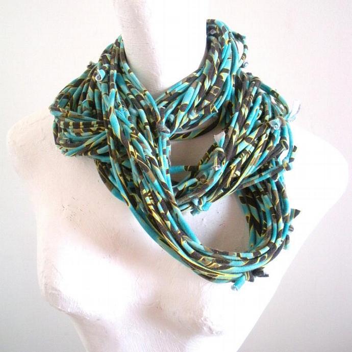 Turquoise Infinity Scarf Eco Friendly Carafe Brown Yellow Tribal Stripes Pantone
