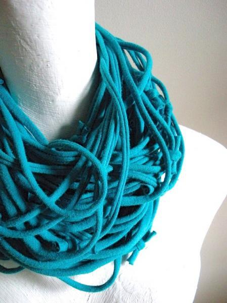 Eco Friendly Deep Turquoise Circle Scarf Blue Infinity Scarf Cowl Scarf Upcycled