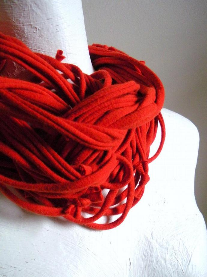 Burnt Orange Infinity Scarf Fall Fashion Cinnamon Loop Scarf Repurposed Clothing