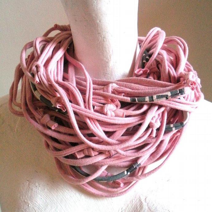 Feminine Pastel Pink Infinity Scarf Fall Fashion Upcycled Clothing Gray Black