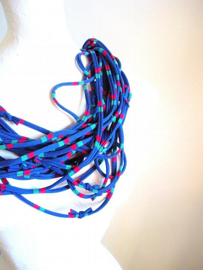 Mykonos Electric Blue Striped Infinity Scarf Pantone Fall Fashion Color Cobalt