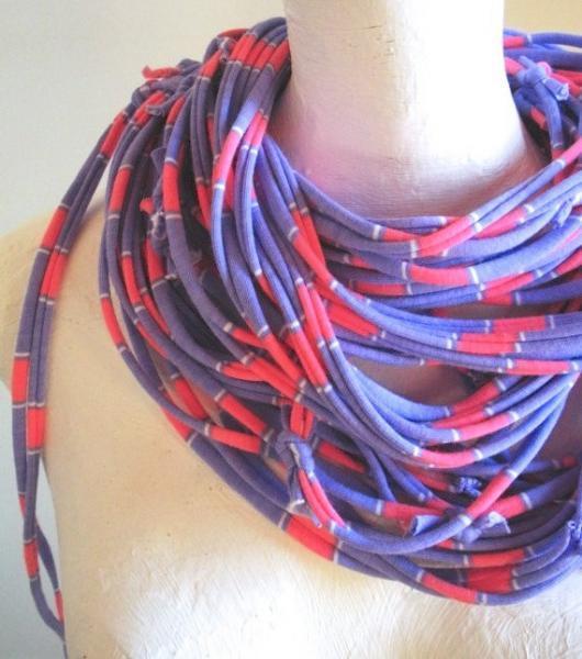 Upcycled Clothing Pastel Purple Pink Striped Infinity Scarf Eco Fashion Boho