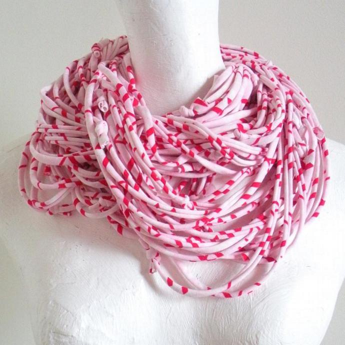 Winter Pastel Pink Infinity Scarf Red White Geometric Stripes Fall Fashion