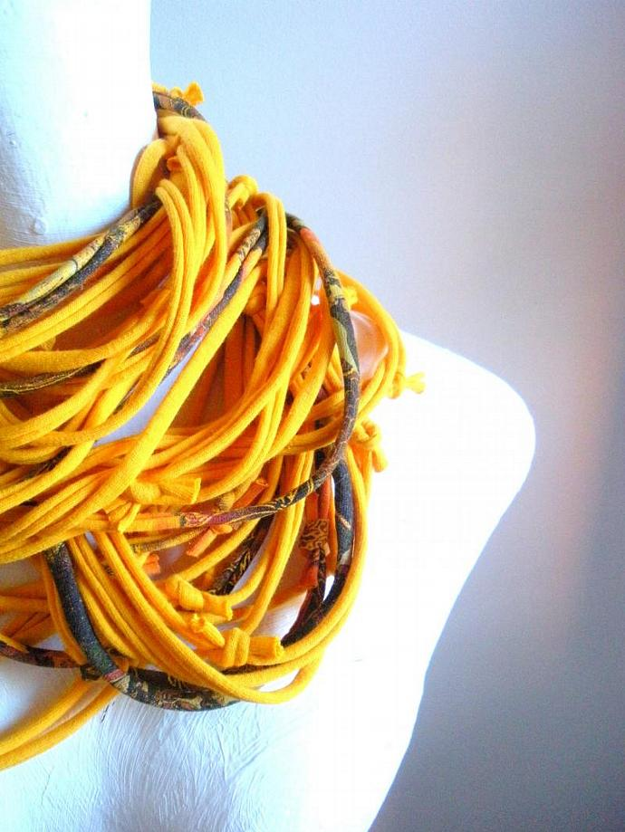 Harvest Yellow Cowl Scarf Gold Infinity Scarf Fall Fashion Upcycled Loop Scarf