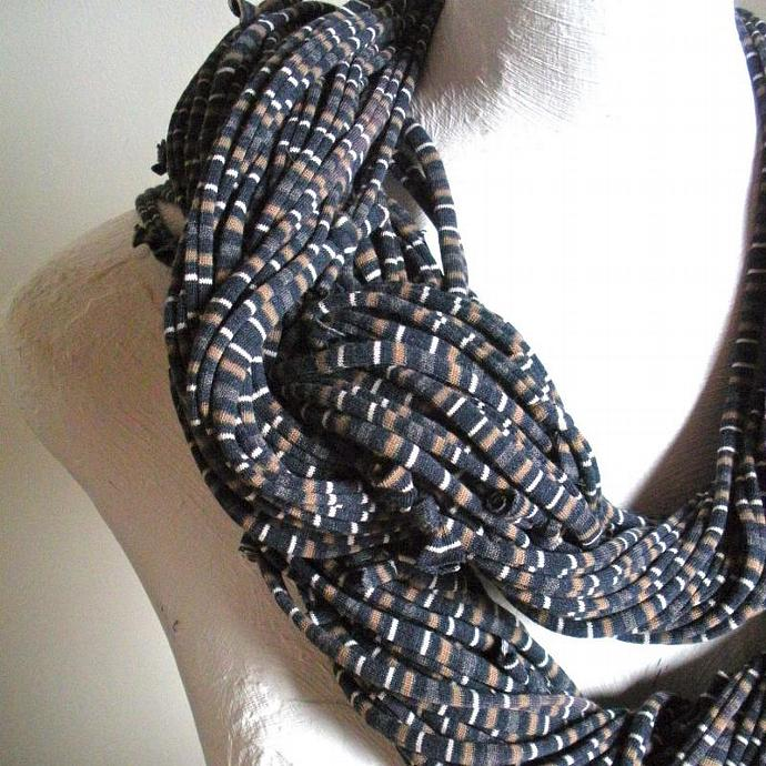 Steampunk Turbulence Gray Striped Infinity Scarf Pantone Fall fashion Color