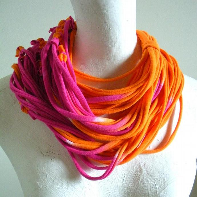 Womens Tangerine Raspberry Pink Circle Scarf Ombre Infinity Scarf Fall Fashion
