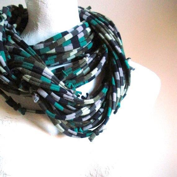 Teal Green Navy Turbulence Gray Infinity Scarf Pantone Fall Fashion Color Chunky