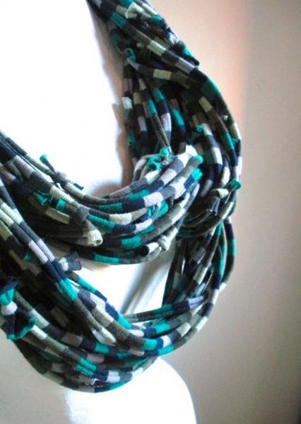 Teal Green Navy Turbulence Gray Infinity Scarf Pantone Fall Fashion Color Chunky