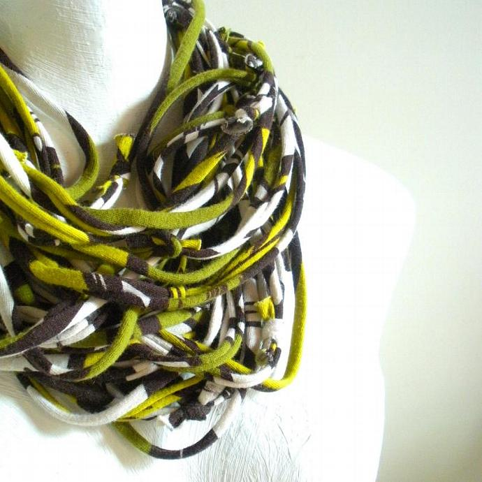 Chartreuse Carafe Brown Scarf Necklace Retro Geometric Print Upcycled Clothing