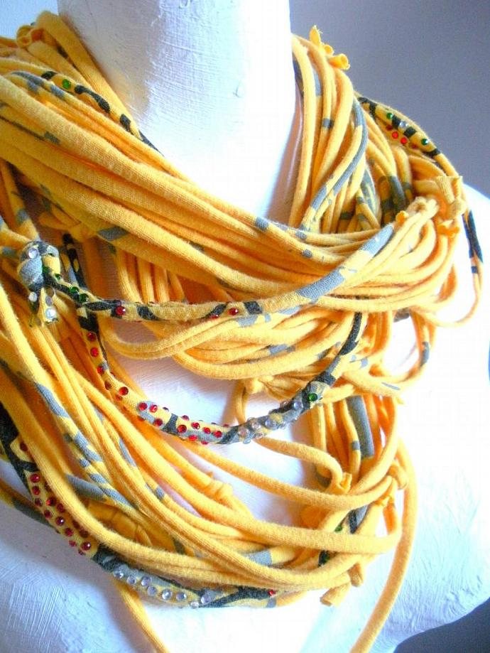 Yellow Cowl Scarf Autumn Gold Infinity Scarf Multicolor Rhinestones Bling Circle