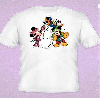 Mickey and the Gang Snowman  Tee All Sizes Free Name Included