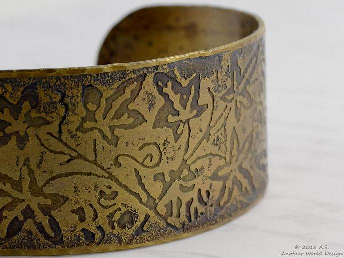 Brass Cuff Bracelet Etched with Oak Leaves and Acorns