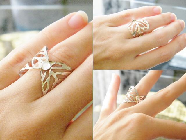 Leaf Ring Silver Plated Crystal Clear Swarovski Rhinestone