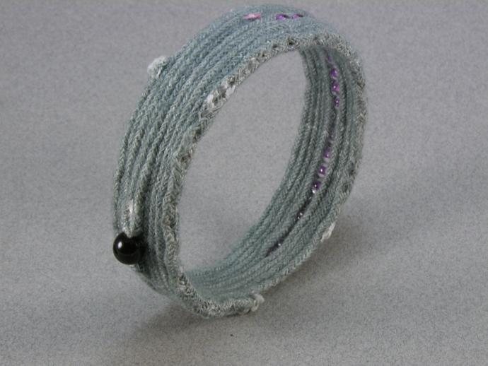 beaded grey cotton bangle bracelet beaded bracelet hand dyed cord bangle fabric