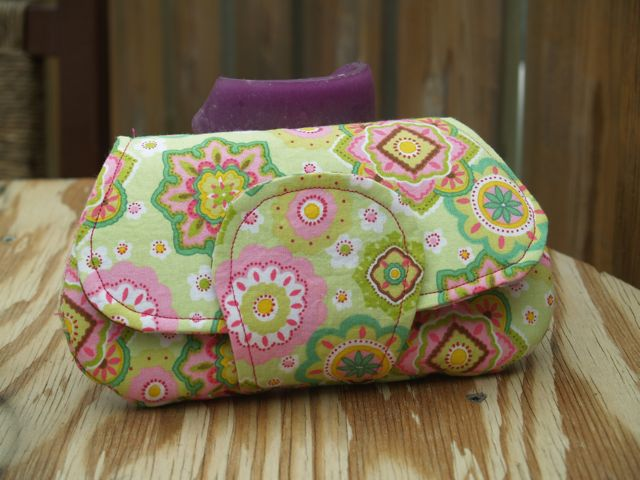 Handmade Green and Pink Geometric Floral Clutch Ba