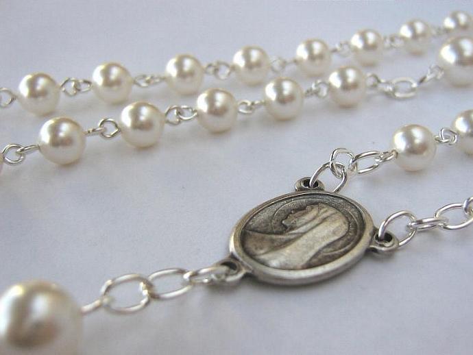 Catholic rosary June birthstone Swarovski pearls