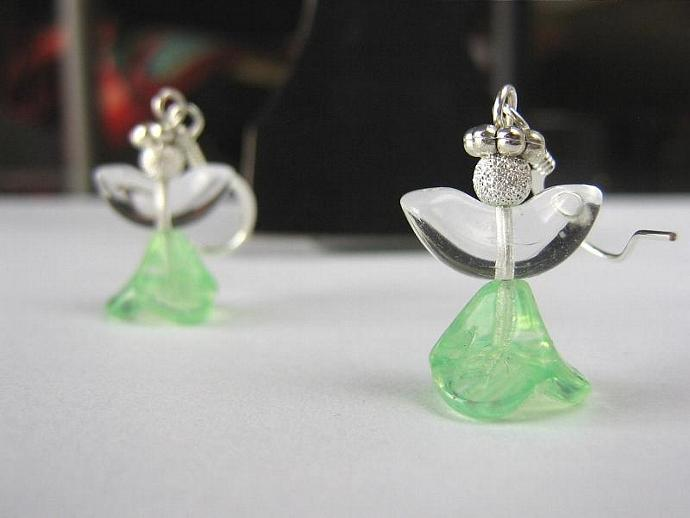 Angel earrings glass wings light green skirt