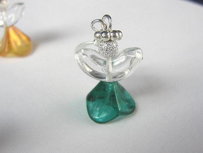 Angel earrings glass wings dark green skirt