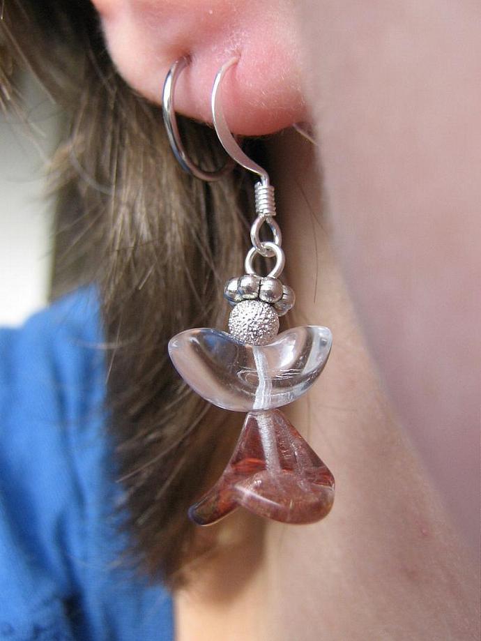 Angel earrings glass wings rose skirt