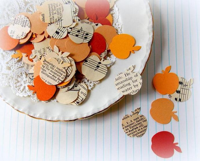 Vintage Paper Confetti Apple Punches - Golden Autumn Harvest Mix