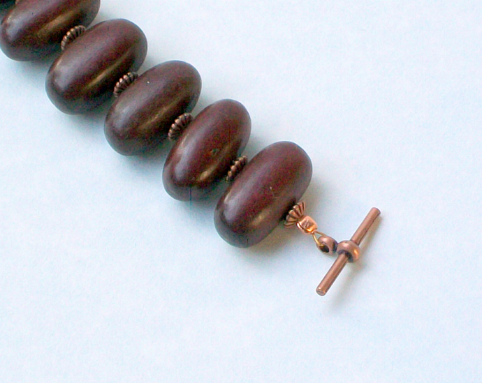 Dark Brown Wooden Beads & Copper Bracelet
