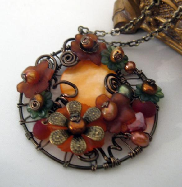 Secret Garden Wire Wrap Necklace Pumpkin Blossom
