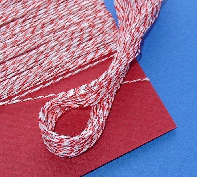red and white bakery twine / over 200 feet / 2 cards