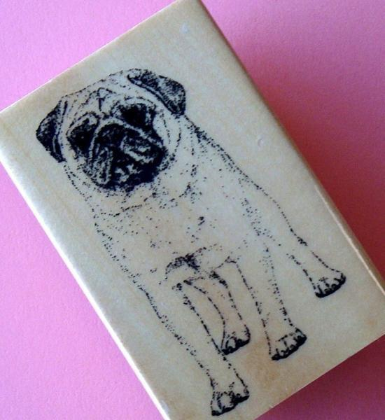 rubber mounted stamp / pug dog