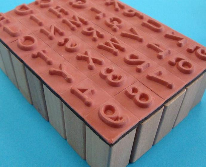 rubber stamp set alphabet numerals / uppercase / 35 pieces