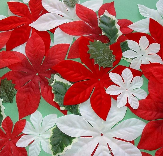 Christmas flower fabric embellishments / new pack of 30 pieces