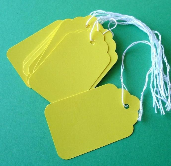 25 sunny yellow scalloped paper tags with string