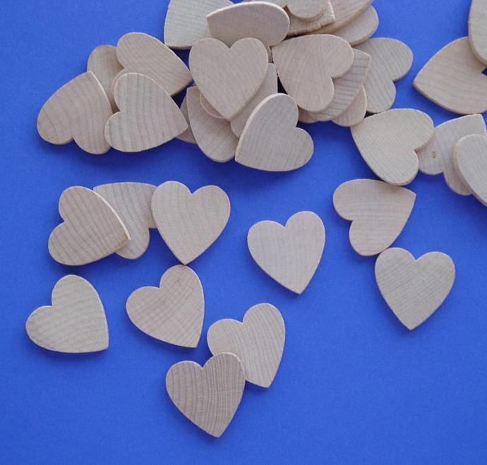wood heart cut out tiles / 40 pieces