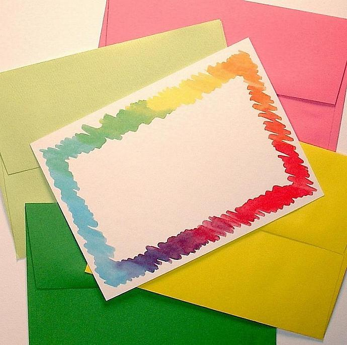 25 colorful flat note cards / invitations