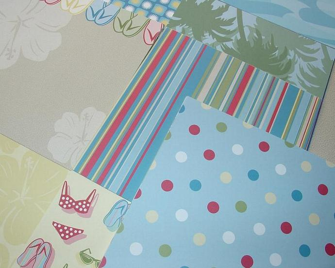 summer beach papers / 24 piece tablet / 12 designs